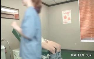 tempting doctor rubs her patients pecker