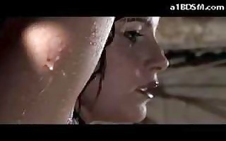 breasty hotty with bound arms whipped during the
