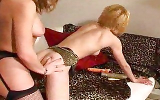 strapon lesbian babes in fishnets receive horny