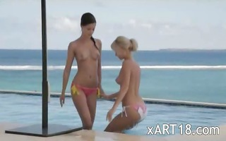 lovely threesome by the pool
