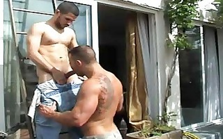curly homosexual man got his booty licked outdoors