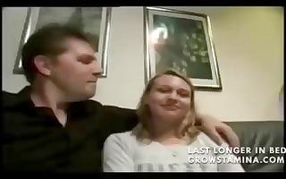 blond sucks on her mans knob whilst she is
