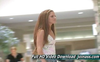 emma redhead gal is caught shopping at a mall