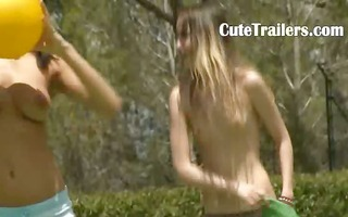 five stripped pornstars getting wet outside
