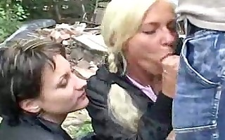 two girlsblonde and brunette fucking in public