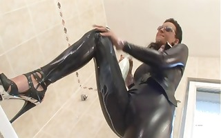 brunette in latex blows him and then receives