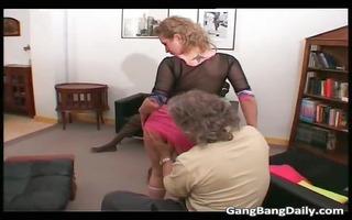 sexy lascivious golden-haired slut sucks large