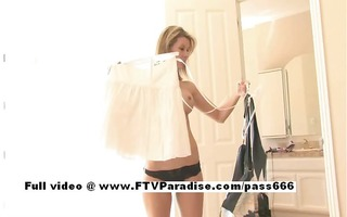 desiree cute blond hottie trying clothes