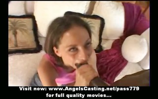 amazing brunette does oral-job for afro lad in