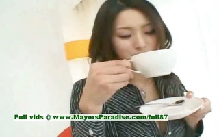 risa virginal oriental gal gives a cute fellatio