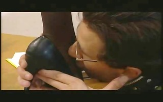 floozy in latex gives a lesson to her silly