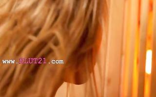 lesbo coed lovers fingering in sauna