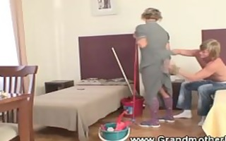 fingering a very mature cleaning granny
