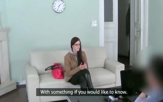 spectacled chick fucking hardcore on sofa