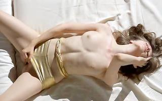 super slim girl stripping her slit