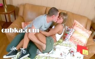 juicy ass of teen in shoes stretched