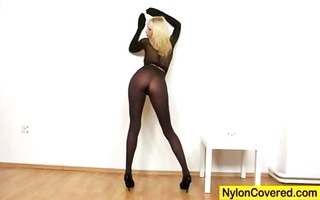 lewd blonde distorted nylon mask face