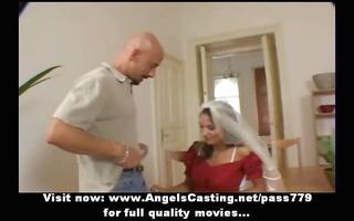 amateur alluring brunette hair wife undressing