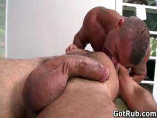 Hot guy get his amazing body massaged
