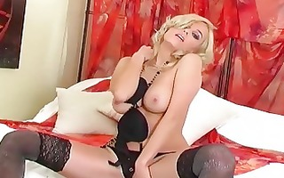 blond with bigtits fingering in thigh high nylon
