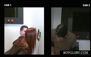 gloryhole dude dick rubbed by hot pair