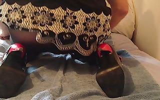 high heels, hose and a marital-device