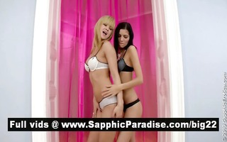 naughty blonde and redhead lesbians licking and