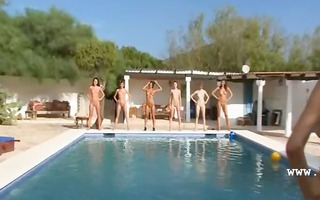 six nude angels by the pool from italia