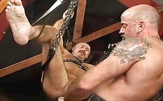 slutty bald gay bear bondaged and anally screwed