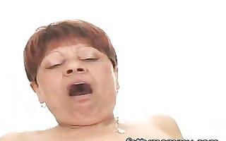 aged short hair granny in dark hose having sex
