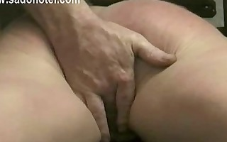 masked villein is finger drilled by her dom and
