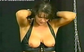 gorgeous milf serf is spanked and got large metal
