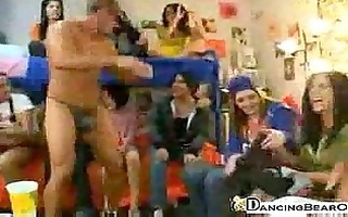 college sorority gals party with a dancing bear