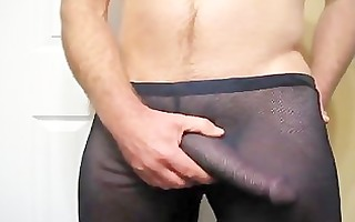 thick dick grows and cums throughout mesh panties