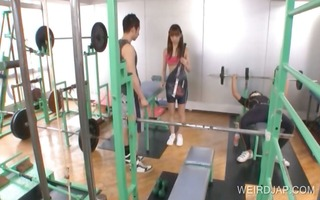sporty asian gets tinny breasts rubbed
