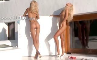 golden-haired beauties in high heels