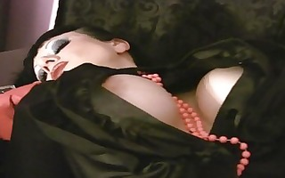 mother i with large tits in satin masturbates solo