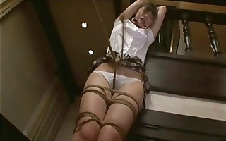 school gal fastened and being tease by brush