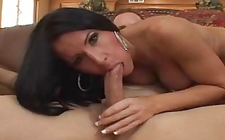 tanned brunette hair milf with big natural bra