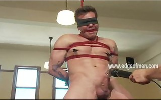 servitude noob bound in ropes and masturbated by