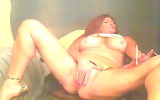large tit smoking redhead