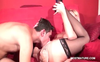blond mama receives mature hawt cookie licked