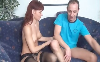 older redhead amateur eats his ramrod then takes