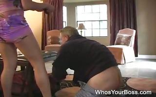 horny femdom sitting on a boys face