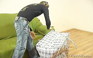 pliant doll receives dildo hard in her shaved wet